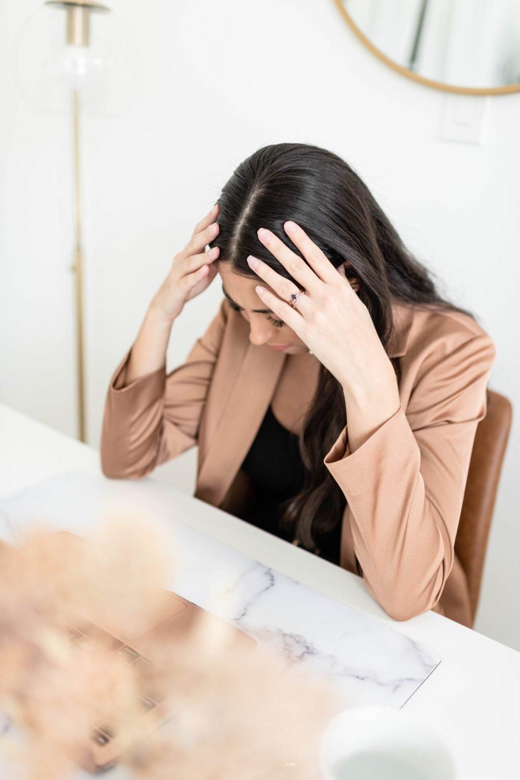 Woman, desk